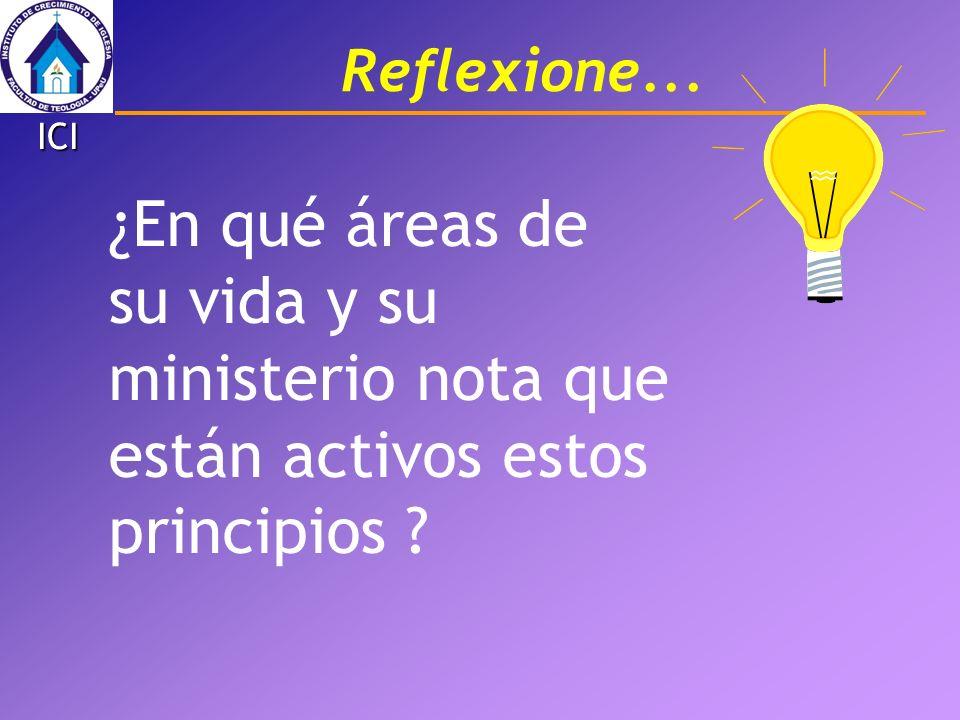 ¿En qué áreas de su vida y su ministerio nota que están activos estos principios ? Reflexione... ICI