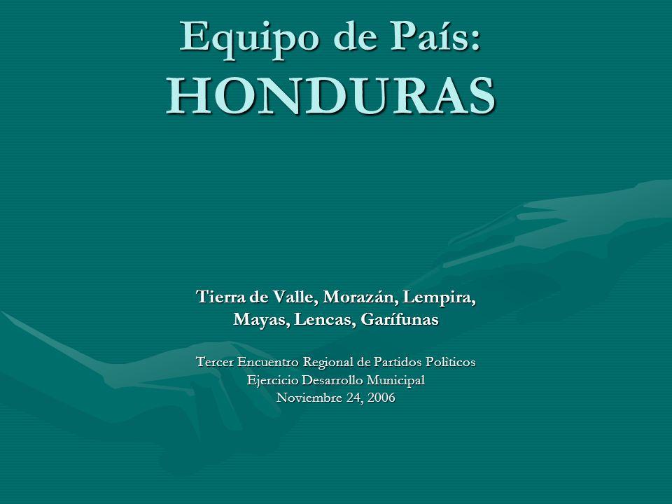 Equipo de País: HONDURAS Tierra de Valle, Morazán, Lempira, Mayas, Lencas, Garífunas Tercer Encuentro Regional de Partidos Polìticos Ejercicio Desarro