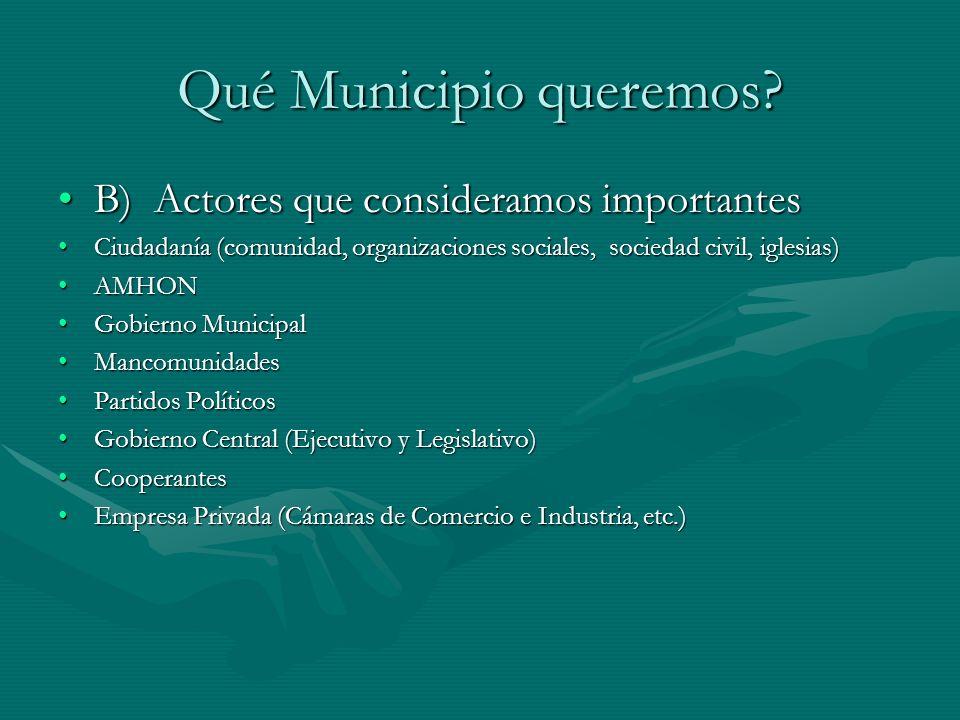 Qué Municipio queremos? B) Actores que consideramos importantesB) Actores que consideramos importantes Ciudadanía (comunidad, organizaciones sociales,