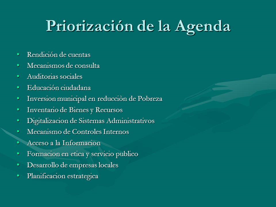 Priorización de la Agenda Rendición de cuentasRendición de cuentas Mecanismos de consultaMecanismos de consulta Auditorias socialesAuditorias sociales