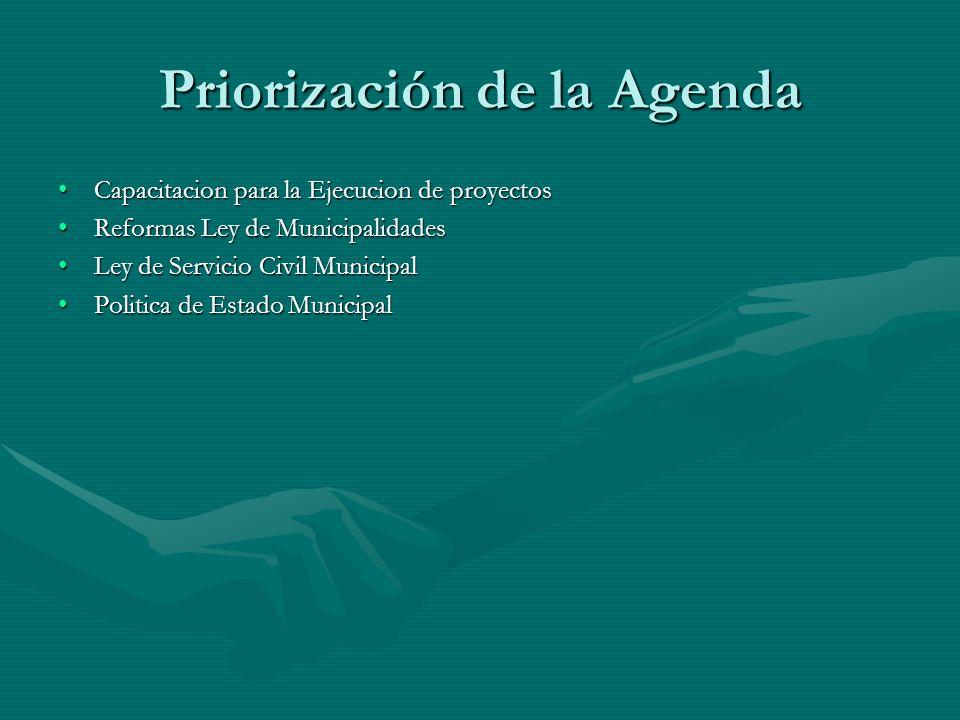 Priorización de la Agenda Capacitacion para la Ejecucion de proyectosCapacitacion para la Ejecucion de proyectos Reformas Ley de MunicipalidadesReform