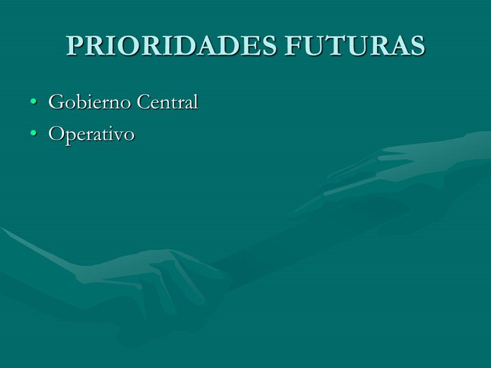 PRIORIDADES FUTURAS Gobierno CentralGobierno Central OperativoOperativo