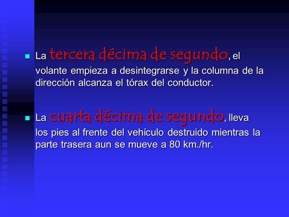 La quinta decida de segundo, el conductor queda aprisionado por la columna de la dirección y la sangre empieza a invadir los pulmones del conductor.