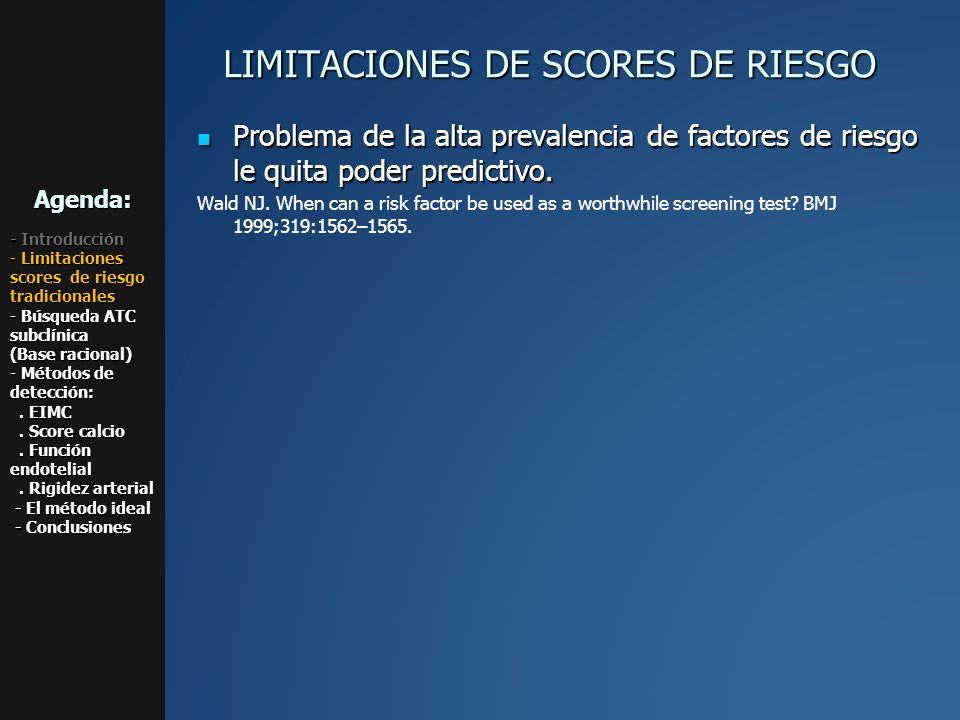 LIMITACIONES DE SCORES DE RIESGO Problema de la alta prevalencia de factores de riesgo le quita poder predictivo. Problema de la alta prevalencia de f