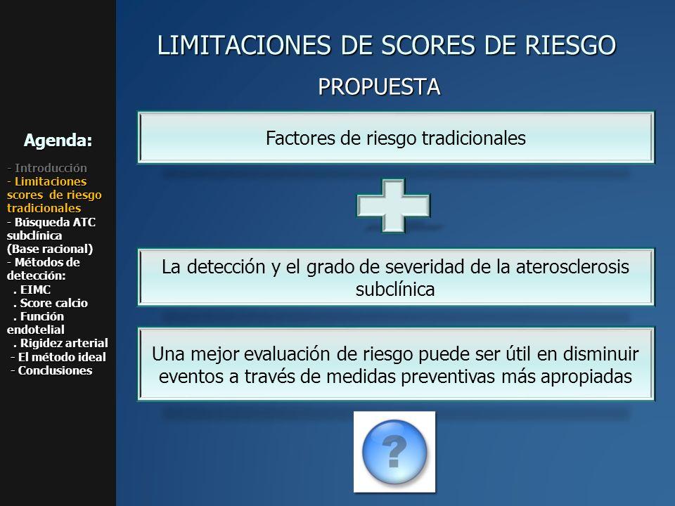 LIMITACIONES DE SCORES DE RIESGO Una mejor evaluación de riesgo puede ser útil en disminuir eventos a través de medidas preventivas más apropiadas La