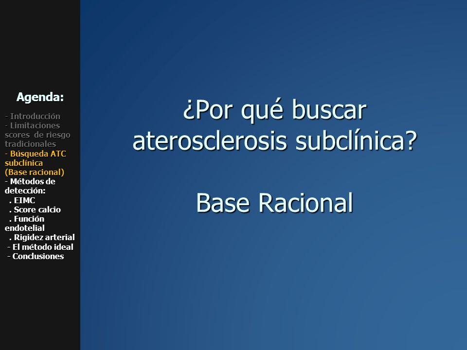 ¿Por qué buscar aterosclerosis subclínica? Base Racional Agenda: - Introducción - Limitaciones scores de riesgo tradicionales - Búsqueda ATC subclínic