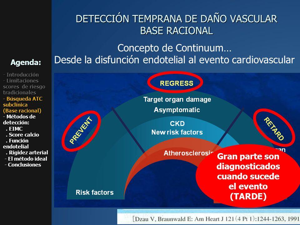 Concepto de Continuum… Desde la disfunción endotelial al evento cardiovascular DETECCIÓN TEMPRANA DE DAÑO VASCULAR BASE RACIONAL Agenda: - Introducció