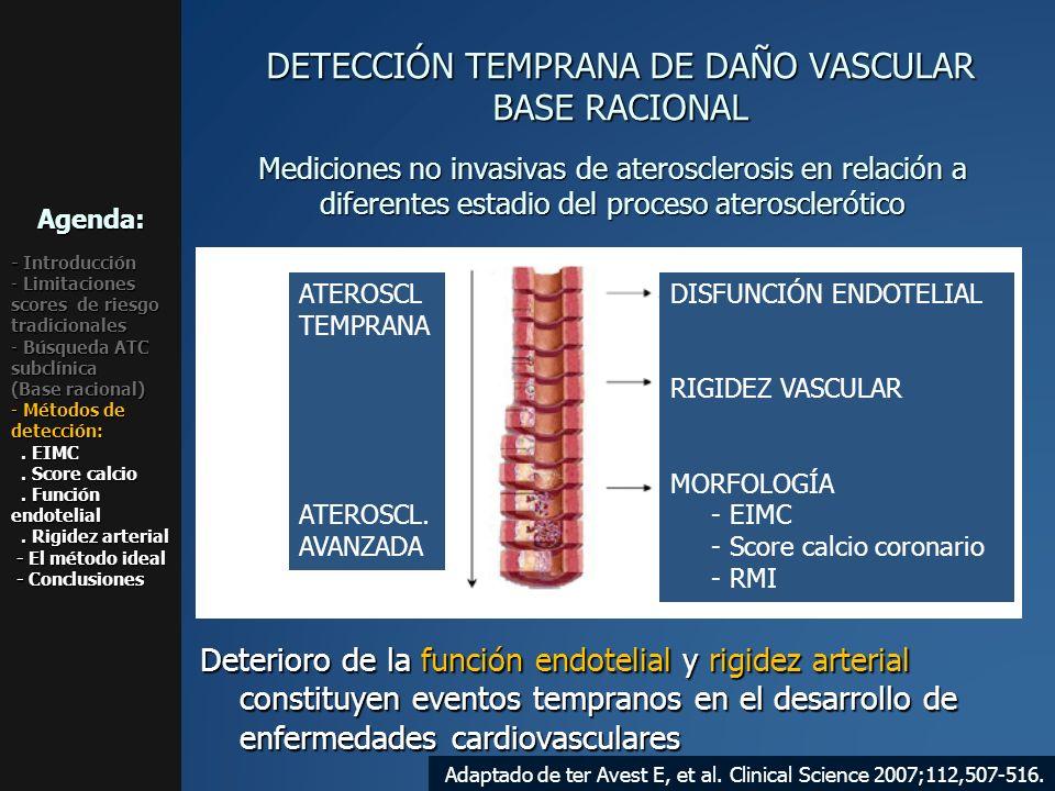 ATEROSCL TEMPRANA ATEROSCL. AVANZADA DISFUNCIÓN ENDOTELIAL RIGIDEZ VASCULAR MORFOLOGÍA - EIMC - Score calcio coronario - RMI Mediciones no invasivas d