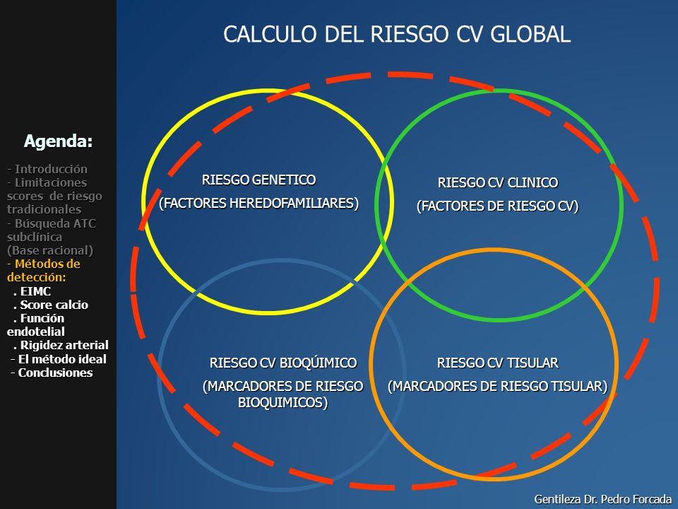 CALCULO DEL RIESGO CV GLOBAL RIESGO GENETICO (FACTORES HEREDOFAMILIARES) RIESGO CV BIOQÚIMICO (MARCADORES DE RIESGO BIOQUIMICOS) RIESGO CV CLINICO (FA