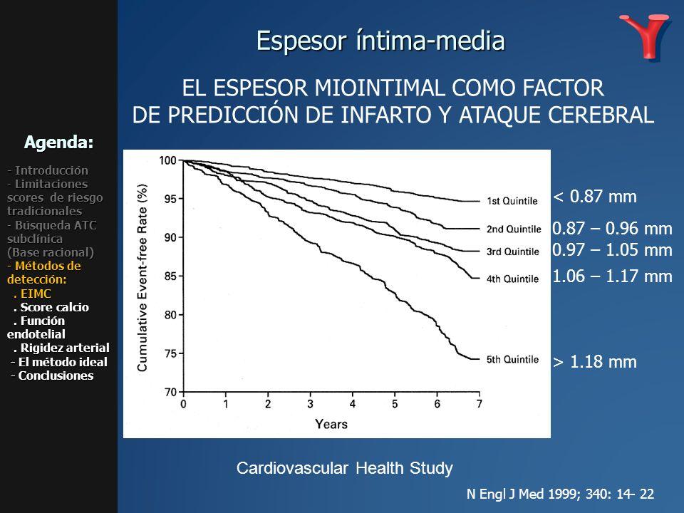 0.87 – 0.96 mm < 0.87 mm 1.06 – 1.17 mm > 1.18 mm 0.97 – 1.05 mm EL ESPESOR MIOINTIMAL COMO FACTOR DE PREDICCIÓN DE INFARTO Y ATAQUE CEREBRAL Cardiova