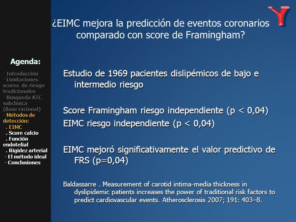 ¿EIMC mejora la predicción de eventos coronarios comparado con score de Framingham? Estudio de 1969 pacientes dislipémicos de bajo e intermedio riesgo