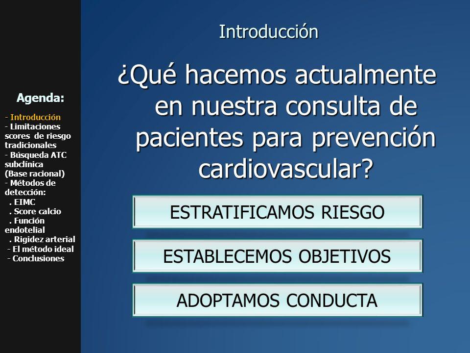 0.87 – 0.96 mm < 0.87 mm 1.06 – 1.17 mm > 1.18 mm 0.97 – 1.05 mm EL ESPESOR MIOINTIMAL COMO FACTOR DE PREDICCIÓN DE INFARTO Y ATAQUE CEREBRAL Cardiovascular Health Study N Engl J Med 1999; 340: 14- 22 Espesor íntima-media Agenda: - Introducción - Limitaciones scores de riesgo tradicionales - Búsqueda ATC subclínica (Base racional) - Métodos de detección:.