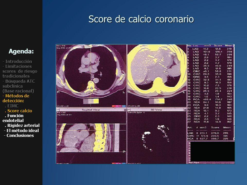 Score de calcio coronario Agenda: - Introducción - Limitaciones scores de riesgo tradicionales - Búsqueda ATC subclínica (Base racional) - Métodos de