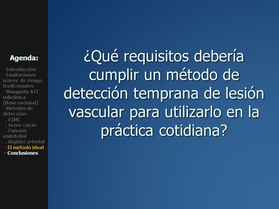 ¿Qué requisitos debería cumplir un método de detección temprana de lesión vascular para utilizarlo en la práctica cotidiana? Agenda: - Introducción -