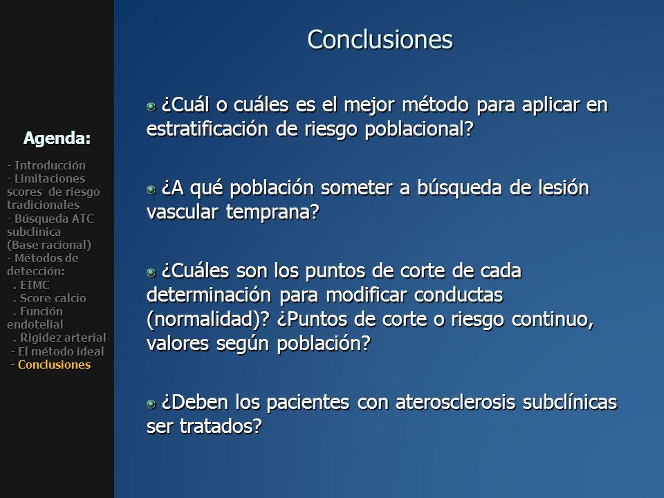 Conclusiones ¿Cuál o cuáles es el mejor método para aplicar en estratificación de riesgo poblacional? ¿Cuál o cuáles es el mejor método para aplicar e