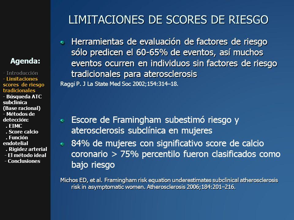 LIMITACIONES DE SCORES DE RIESGO Herramientas de evaluación de factores de riesgo sólo predicen el 60-65% de eventos, así muchos eventos ocurren en in