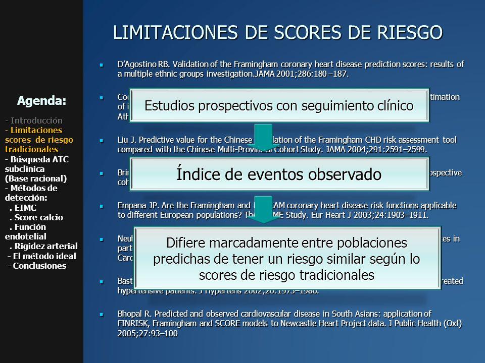 Los métodos para buscar aterosclerosis subclínica aterosclerosis subclínicaAgenda: - Introducción - Limitaciones scores de riesgo tradicionales - Búsqueda ATC subclínica (Base racional) - Métodos de detección:.
