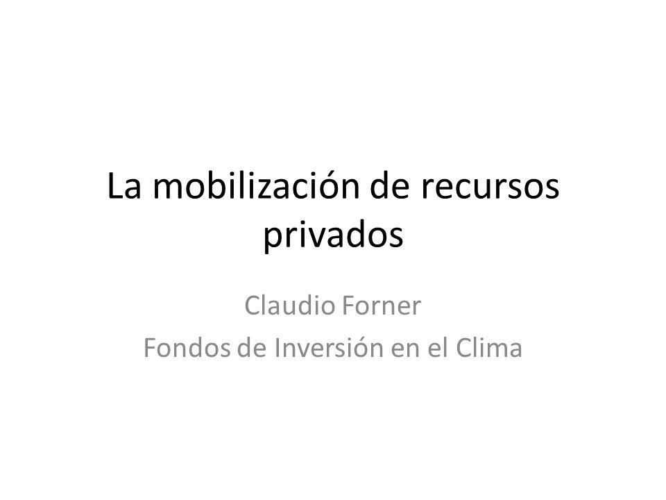 La mobilización de recursos privados Claudio Forner Fondos de Inversión en el Clima