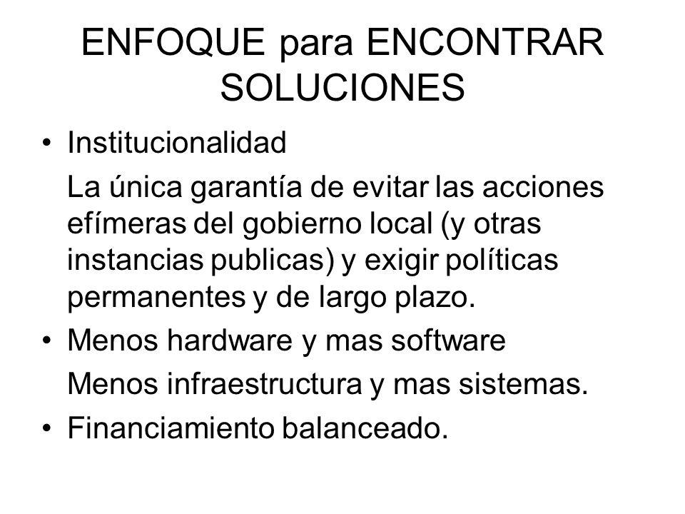 ENFOQUE para ENCONTRAR SOLUCIONES Institucionalidad La única garantía de evitar las acciones efímeras del gobierno local (y otras instancias publicas)