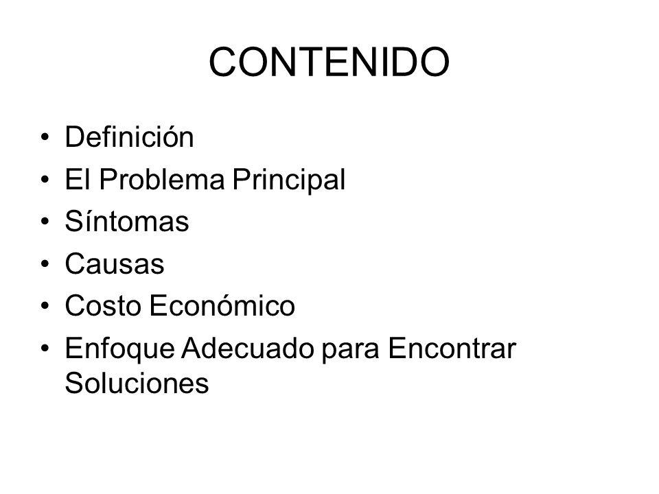 CONTENIDO Definición El Problema Principal Síntomas Causas Costo Económico Enfoque Adecuado para Encontrar Soluciones