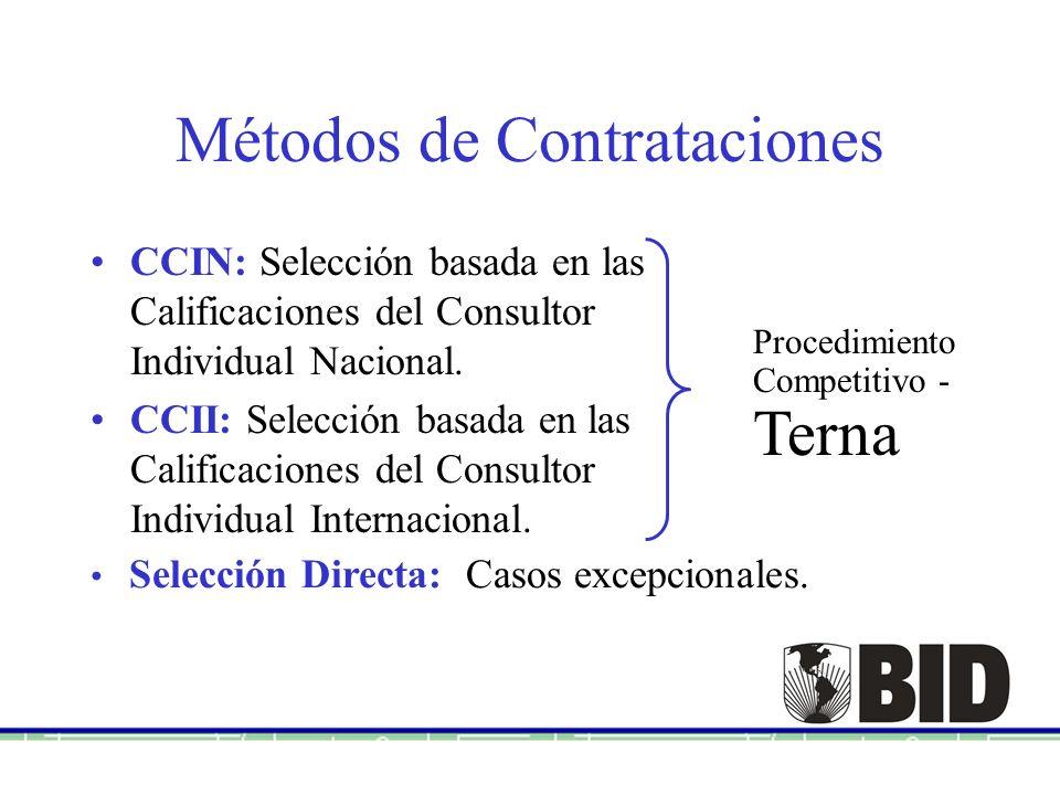 Métodos de Contrataciones CCIN: Selección basada en las Calificaciones del Consultor Individual Nacional. CCII: Selección basada en las Calificaciones