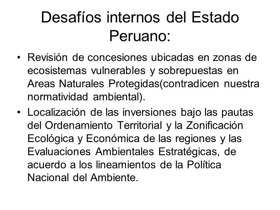 Desafíos internos del Estado Peruano: Revisión de concesiones ubicadas en zonas de ecosistemas vulnerables y sobrepuestas en Areas Naturales Protegidas(contradicen nuestra normatividad ambiental).