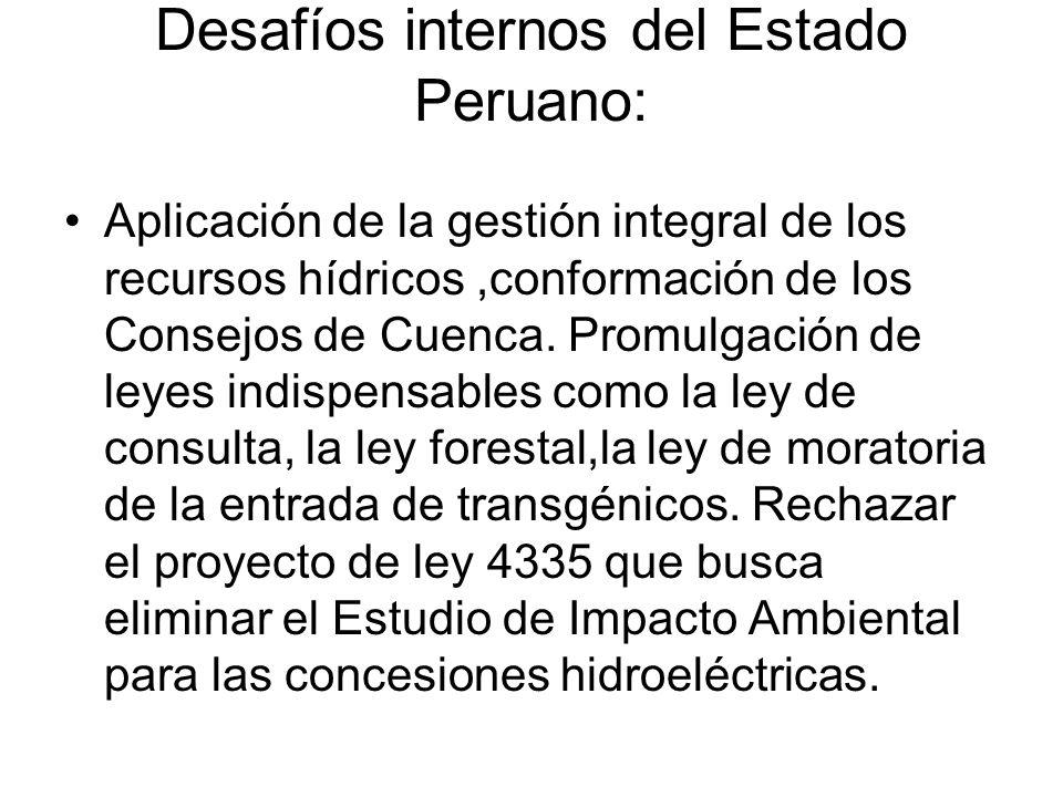 Desafíos internos del Estado Peruano: Aplicación de la gestión integral de los recursos hídricos,conformación de los Consejos de Cuenca.