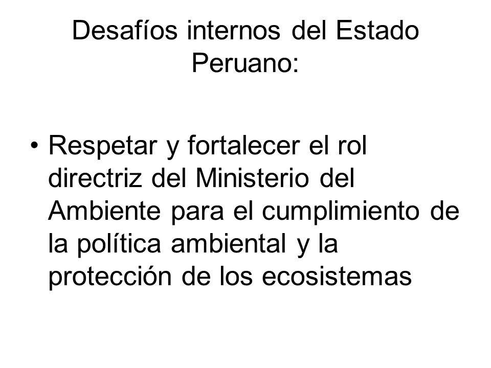 Desafíos internos del Estado Peruano: Respetar y fortalecer el rol directriz del Ministerio del Ambiente para el cumplimiento de la política ambiental y la protección de los ecosistemas