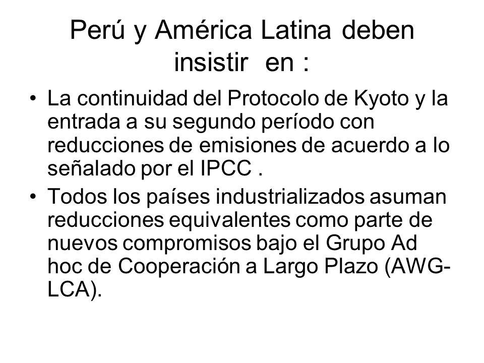 Perú y América Latina deben insistir en : Países industrializados cumplan YA con sus compromisos suscritos de transferir 30 mil millones de dólares a Países en Desarrollo vía fondos públicos, con criterios de vulnerabilidad y equidad.
