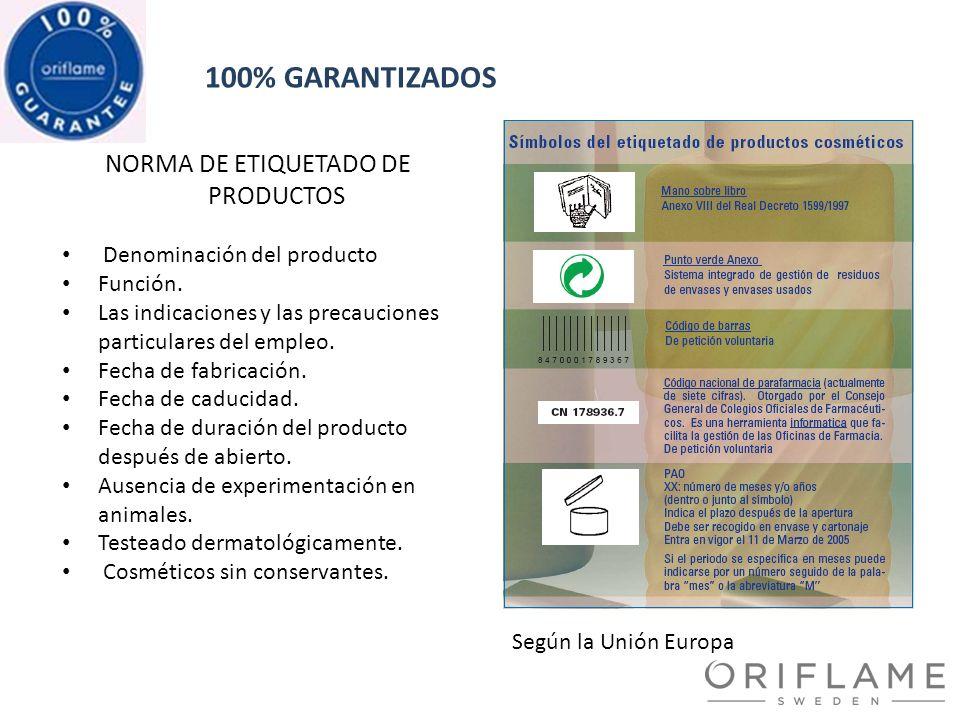 NORMA DE ETIQUETADO DE PRODUCTOS 100% GARANTIZADOS Denominación del producto Función. Las indicaciones y las precauciones particulares del empleo. Fec