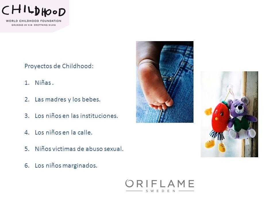 Proyectos de Childhood: 1.Niñas. 2.Las madres y los bebes. 3.Los niños en las instituciones. 4.Los niños en la calle. 5.Niños victimas de abuso sexual