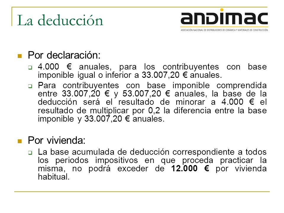 La deducción Por declaración: 4.000 anuales, para los contribuyentes con base imponible igual o inferior a 33.007,20 anuales.