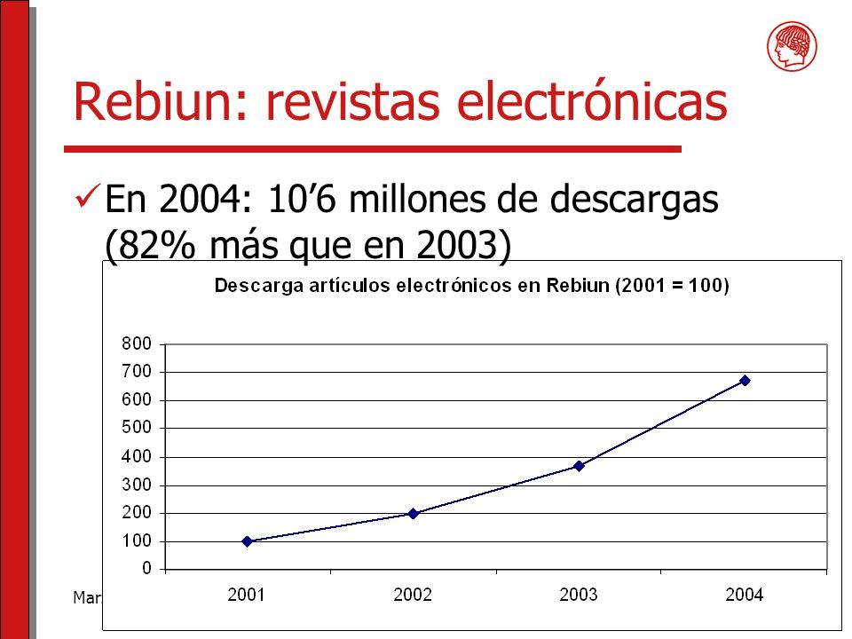 Marzo de 2006Usando las bibliotecas digitales6 Rebiun: revistas electrónicas En 2004: 106 millones de descargas (82% más que en 2003)