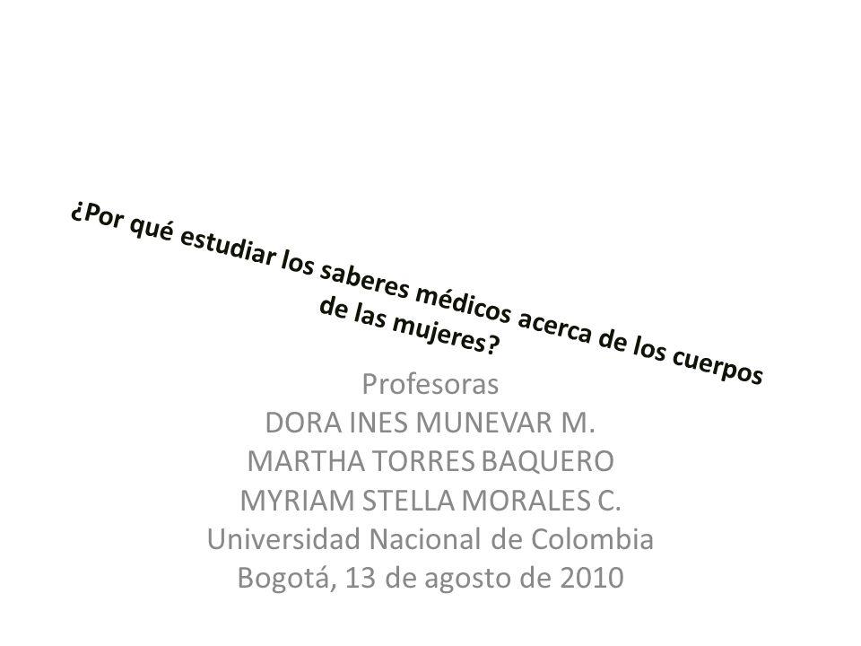 ¿Por qué estudiar los saberes médicos acerca de los cuerpos de las mujeres? Profesoras DORA INES MUNEVAR M. MARTHA TORRES BAQUERO MYRIAM STELLA MORALE