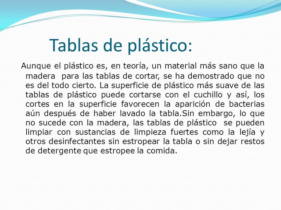 Tablas de plástico: Aunque el plástico es, en teoría, un material más sano que la madera para las tablas de cortar, se ha demostrado que no es del tod