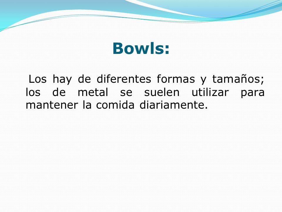 Bowls: Los hay de diferentes formas y tamaños; los de metal se suelen utilizar para mantener la comida diariamente.