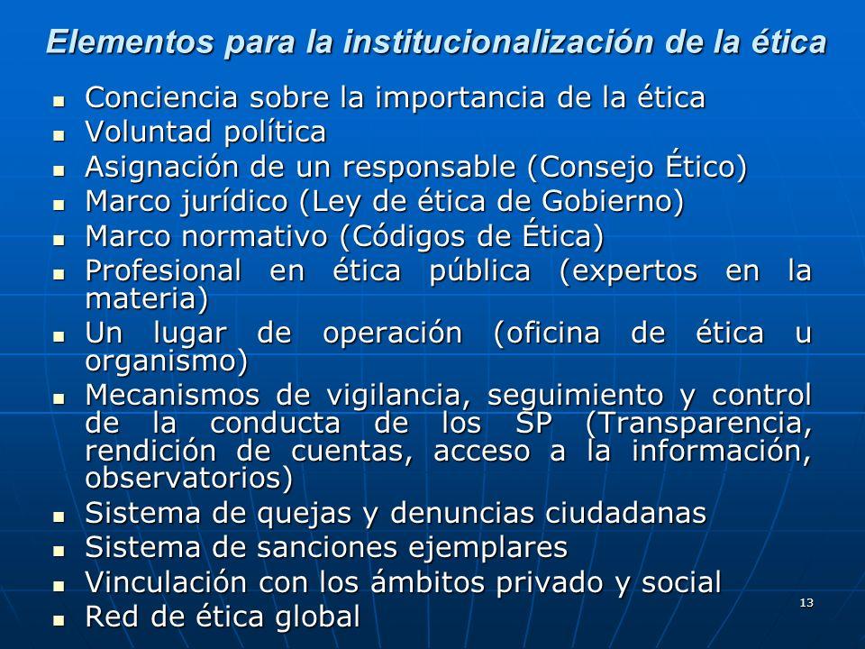 13 Elementos para la institucionalización de la ética Conciencia sobre la importancia de la ética Conciencia sobre la importancia de la ética Voluntad