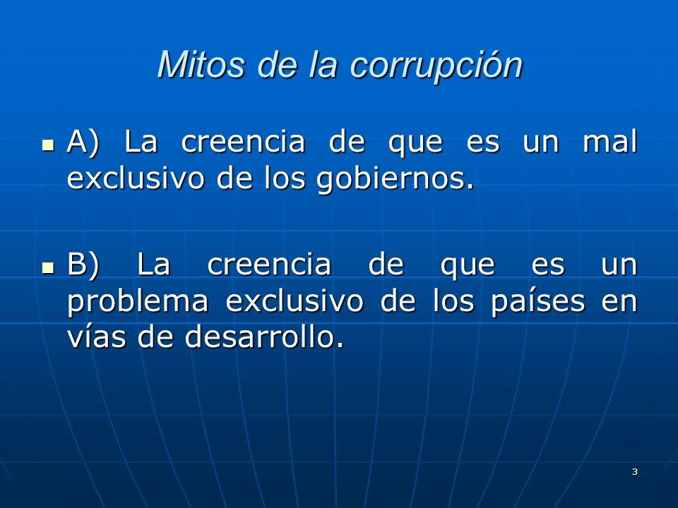 Mitos de la corrupción A) La creencia de que es un mal exclusivo de los gobiernos. A) La creencia de que es un mal exclusivo de los gobiernos. B) La c