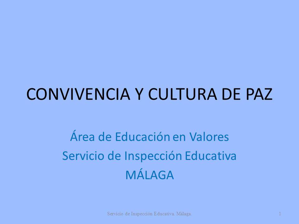 CONVIVENCIA Y CULTURA DE PAZ Área de Educación en Valores Servicio de Inspección Educativa MÁLAGA Servicio de Inspección Educativa. Málaga.1