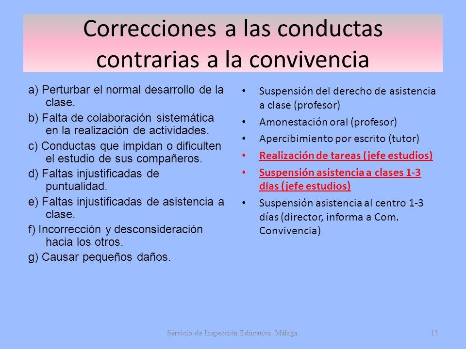 Correcciones a las conductas contrarias a la convivencia a) Perturbar el normal desarrollo de la clase. b) Falta de colaboración sistemática en la rea