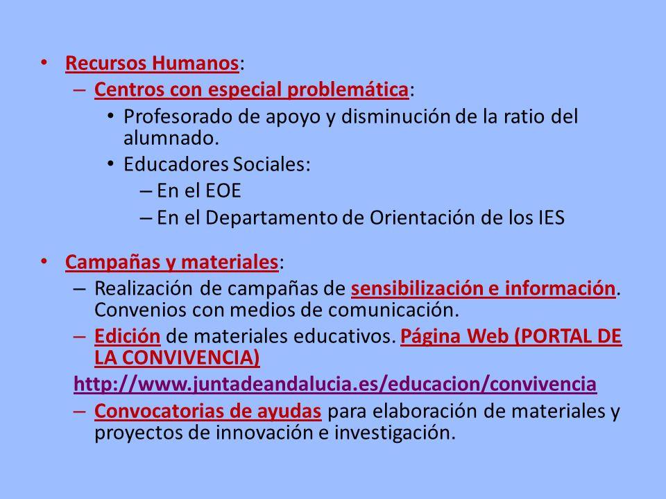 Recursos Humanos: – Centros con especial problemática: Profesorado de apoyo y disminución de la ratio del alumnado. Educadores Sociales: – En el EOE –