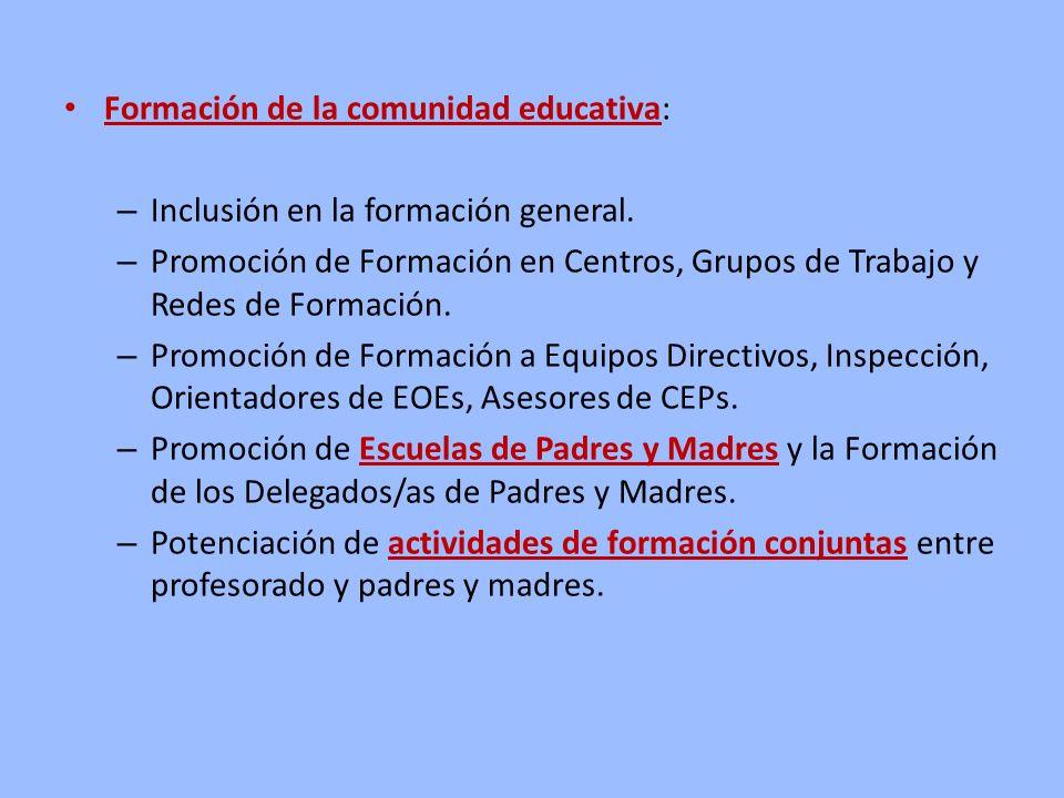 Formación de la comunidad educativa: – Inclusión en la formación general. – Promoción de Formación en Centros, Grupos de Trabajo y Redes de Formación.