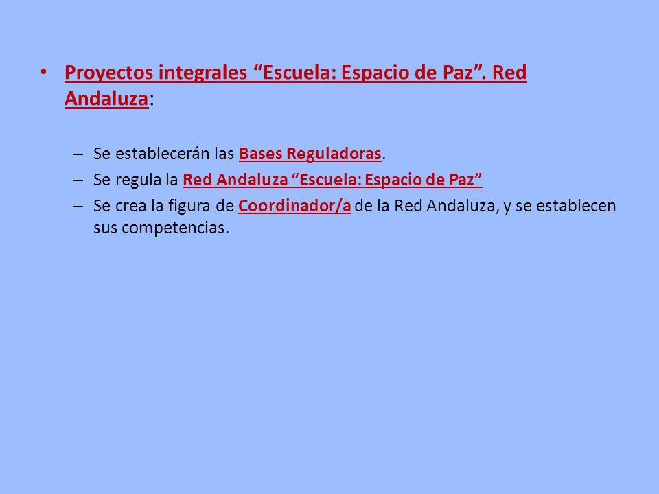 Proyectos integrales Escuela: Espacio de Paz. Red Andaluza: – Se establecerán las Bases Reguladoras. – Se regula la Red Andaluza Escuela: Espacio de P