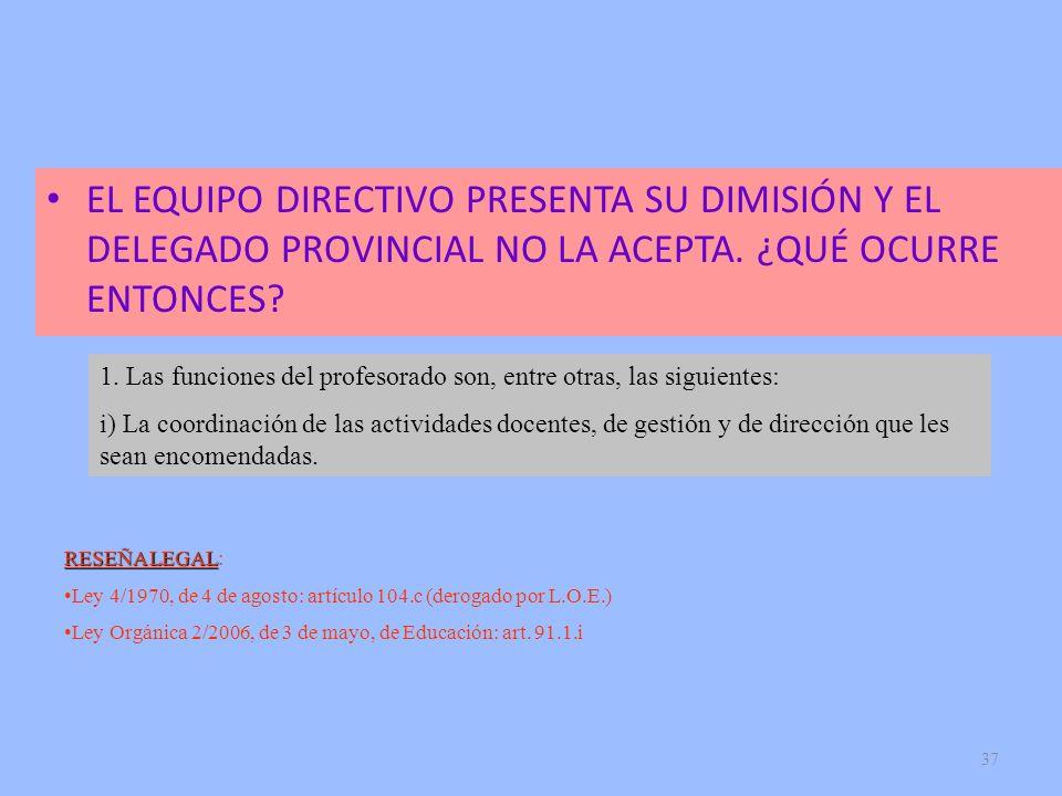 37 EL EQUIPO DIRECTIVO PRESENTA SU DIMISIÓN Y EL DELEGADO PROVINCIAL NO LA ACEPTA. ¿QUÉ OCURRE ENTONCES? RESEÑA LEGAL RESEÑA LEGAL: Ley 4/1970, de 4 d