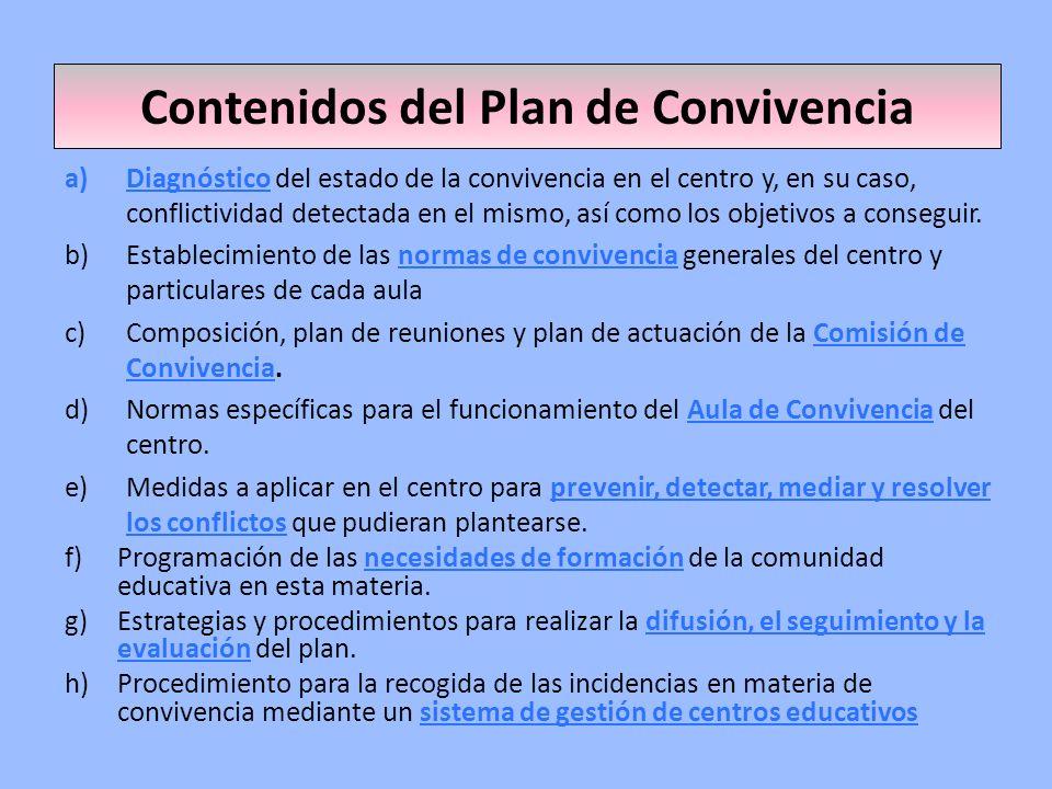 Contenidos del Plan de Convivencia a)Diagnóstico del estado de la convivencia en el centro y, en su caso, conflictividad detectada en el mismo, así co
