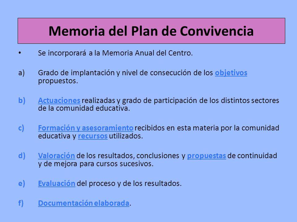 Memoria del Plan de Convivencia Se incorporará a la Memoria Anual del Centro. a)Grado de implantación y nivel de consecución de los objetivos propuest