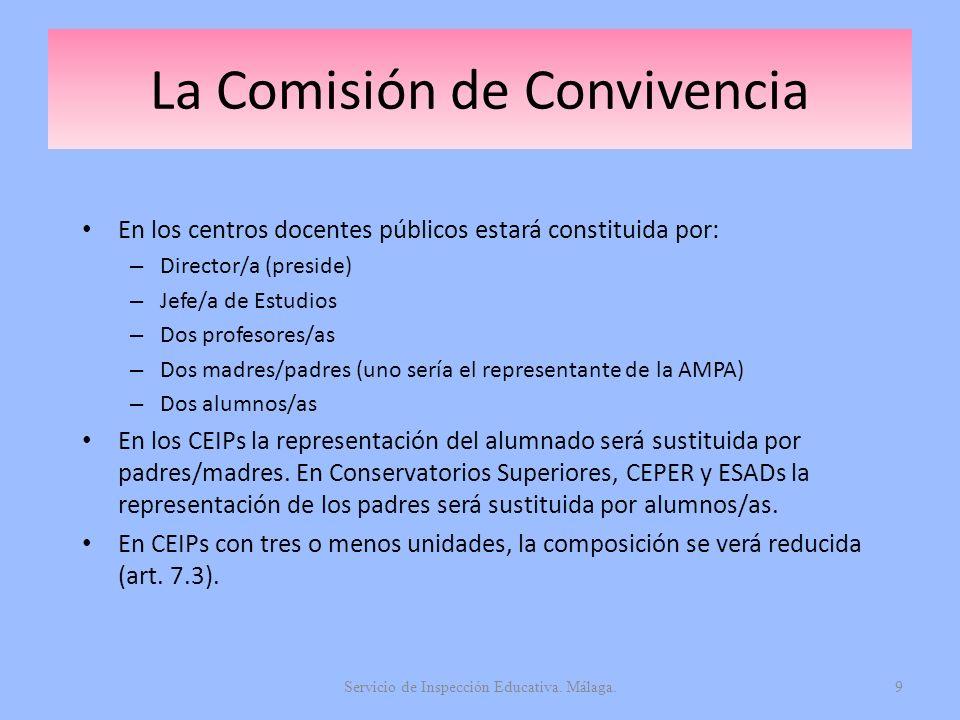 La Comisión de Convivencia En los centros docentes públicos estará constituida por: – Director/a (preside) – Jefe/a de Estudios – Dos profesores/as –