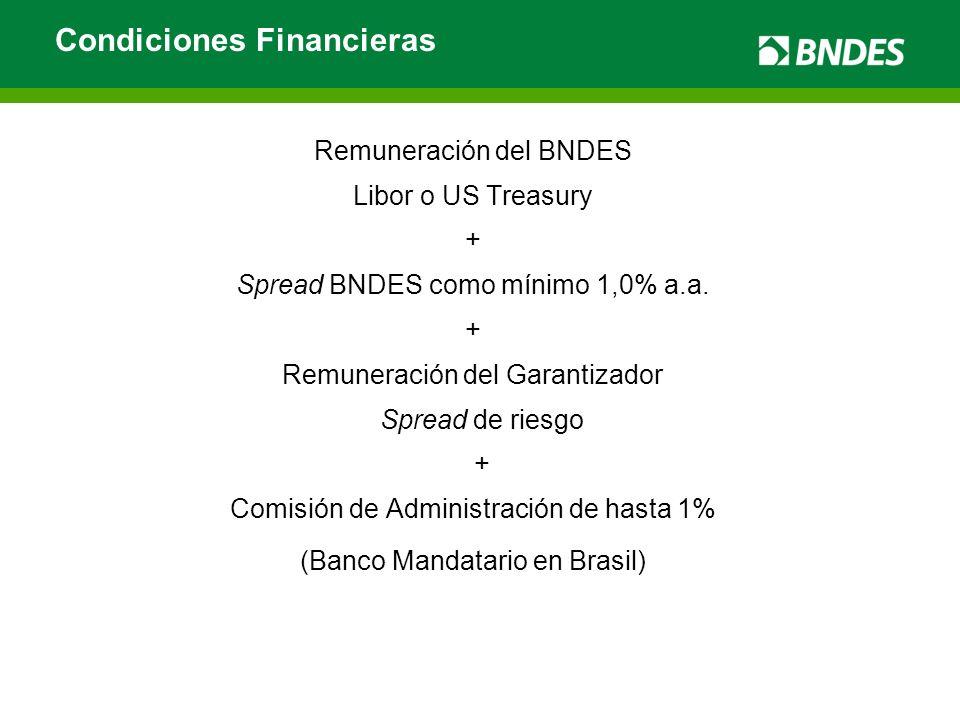 Remuneración del BNDES Libor o US Treasury + Spread BNDES como mínimo 1,0% a.a. + Remuneración del Garantizador Spread de riesgo + Comisión de Adminis