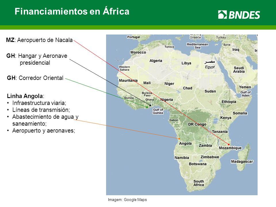 Financiamientos en África Imagem: Google Maps Linha Angola: Infraestructura viaria; Líneas de transmisión; Abastecimiento de agua y saneamiento; Aerop