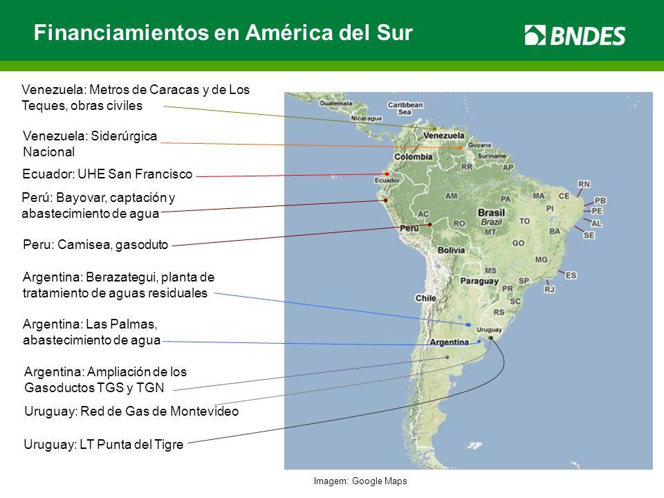 Financiamientos en América del Sur Argentina: Las Palmas, abastecimiento de agua Ecuador: UHE San Francisco Venezuela: Metros de Caracas y de Los Tequ